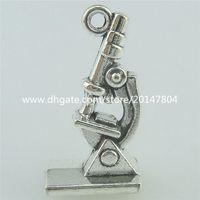 antique microscopes - 15688 Antique Silver Vintage Alloy Microscope Pendant Charm Jewelry