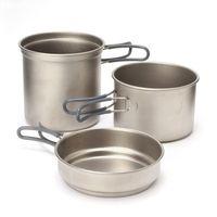 Wholesale 3pcs set TAKIN Outdoor Camping Pure Titanium Pot Sets Large Cup Bowl Cooking Picnic Home Tableware