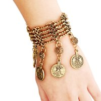 america gold coins - Europe and America alloy fashion vintage tassel coin charm bracelet gold silver colors jewelry Factory sale