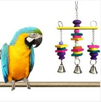 Wholesale Colorful Bird Toy Parrot Hanging Wooden Swing Bells Parakeet Budgie Chew Toys Perfect Gift