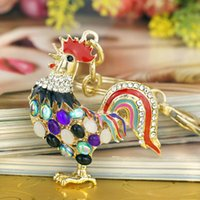 animals cock - Pretty Chic Opals Cock Rooster Chicken Keychains Crystal Bag Pendant Key ring Key chains Christmas Gift Jewelry Llaveros K131
