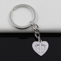 antique metal printing plate - Fashion diameter mm Key Ring Metal Key Chain Keychain Jewelry Antique Silver Plated heart foot prints mm Pendant