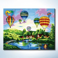 acrylic canvas art - Fire Balloon Wall Art DIY Painting Baby Toys x50cm Educational Canvas Oil Painting Drawing Wall Art for Lover Gift with Green Acrylic