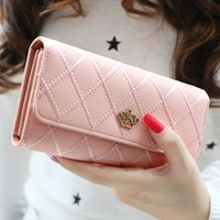 Wholesale 1PC PU Lady Hand Purse Clear color long Korean hasp Lingge love note clip female crown wallet