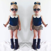 baby doll shorts - INS summer children outfits baby girls lace doll collar navy vest tops stripe shorts sets kids cotton clothing