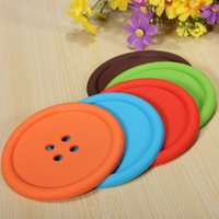 Wholesale 30pcs Cute Silicone Round Button Coaster Home Table Decor Coffee Drink Placemat Cup Mat Pad Preferential benefit freeshipping HY578