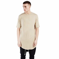 Wholesale 6 color men extended kanye west t shirt cotton swag mens t shirts skateboard tshirt solid hip hop T shirt men s tees tops