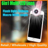 Wholesale LED Selfie Light Fill in Light X Wide Angle Lens X Macro Lens Degree Fisheye Lens Kits for iPhone Samsung LG Sony Phone
