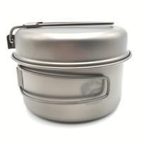 Wholesale BV ml Titanium Post set Outdoor Cookware Camping Pot with Titanium Pan g Ti1515B