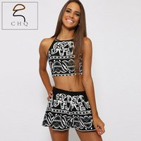aztec crop tops - Women Two Pieces Backless Spaghetti Strap Halter Elephant Animal Geometric Aztec Prints Crop Top with High Waist Shorts