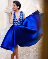 Wholesale Vestidos de Egresadas Formatura Short Royal Blue Graduation Dress Homecoming Dress Prom Dress with Lace Top Deep V neck and Back