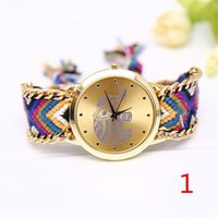 arabic fabric patterns - Woman casual fashion quartz watch strap is made of a combination of cloth and metal inner elephant pattern dial and Arabic numerals