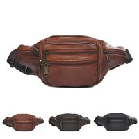 Wholesale Popular Sale Genuine Leather Waist Pack Fashion Zipper Retro Fanny Pack Travel Portable Waist Bag AC56 salebags