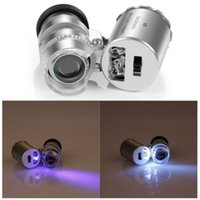 Wholesale 2 in X Mini Handheld Pocket Magnifier Microscope Loupe with LED light UV Currency Detector Phone Jewelry