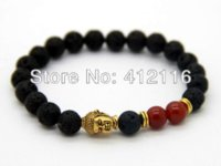 antique bronze buddha - Hot Sale Jewelry mm Lava Stone Beads Red Agate Beads with Antique Gold Bronze Buddha Men s Bracelets Gift