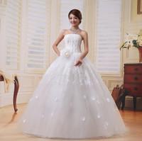 Wholesale 2016 new Aesthetic princess long design fashion formal dress lace flower romantic tube top wedding formal dress