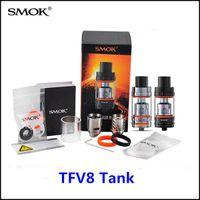 Wholesale 100 Authentic Smok TFV8 Cloud Beast Tank Full Kit with V8 T8 V8 Q4 Sub Coils Black SS TFV8 Atomizer vs TFV4 Cubis Pro for eVic VTwo Kbox