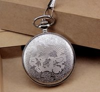 animate pockets - DHL hot sale Animated cartoon Design silver Pocket Chain Watch high Quality clock manufacturer direct