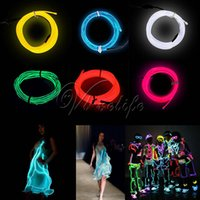 Mode LED Ruban Éclairage 3M EL Wire Rope Flexible Neon LED Lumière Glow Battery Power Wedding Party Décorations 6 Couleurs
