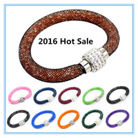 Wholesale 2016 Hot sale cheap New Bohemian Stardust Bracelet Women Crystal Wrap Wristband Rhinestone shangrila Magnetic buckle bracelets bangles A0114