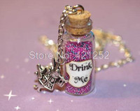 alice in wonderland charms - 12pcs Alice in Wonderland Drink Me Bottle Necklace in Psychedelic with a Rabbit Charm necklace