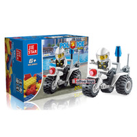 Wholesale Trike police car assembled puzzle fight inserted plastic toy building blocks assembled Christmas gifts and birthday gifts