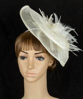 beige color hair - color sinamay fascinator bridal veils wedding headwear for cocktail headwear feather hair accessories MYQ032