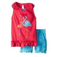 american crane - 2016 New Girl Sets crane Cartoon T shirts Polka Dot Shorts Summer Piece Fashion Sets Children Clothing T