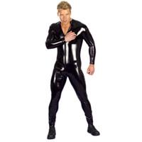 Wholesale Male Leather Bodysuit Men Sexy Full Body Dress Uniform Zipper PVC Outfit Faux Leather Rubber Gay Costume