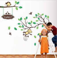 Wholesale High quality Monkey forest tree series children room wallpaper wall stickers New Design Removable Home Decor Art Kids Loving gift