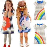 batik summer dresses - Fashion baby girl cartoon cotton dresses kids children rabbit flower rainbow straight dress Y Y princess summer party clothing