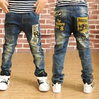baby boy s jeans - 2016 Newest Spring and Autumn Children s trousers Kids baby Letter stitching Pants boys Casual Jeans