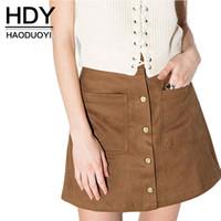 Wholesale HDY Haoduoyi Woman Fashion Autumn Retro Corduroy High Waist Skirt A line Button Preppy Single Breasted Slim Mini Skirt