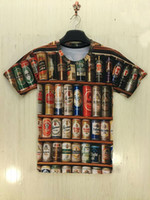 beer tee shirts - 2016 Summer Fashion Mens T Shirts Canned Beer Pattern Printed D T Shirt Men Short Sleeve Tees Tops Plus Size Compression Shirt