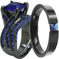 Wholesale Size Black Stainless Steel Princess Cut Blue Sapphire Wedding Engagement Ring Pair Set Couple Anniversary Promise Statement Cocktail