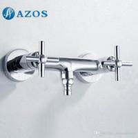Wholesale AZOS Washing Machine Bibcock Single Cold Water Chrome Polish Brass Wall Tap Garden Piscinas Water Tap Basin Faucet PJXY001