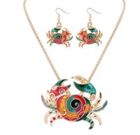 beaded crab - Hot Selling Necklace and Earrings Set Europen New Design Punk style Alloy Electroplate Nice Color Bohemia style Crab Good Design