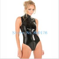 Wholesale free pp New Sexy Valentine s Day Gift Women PVC Costume Front to Crotch Zipper Short Leather Catsuit Size S XXL