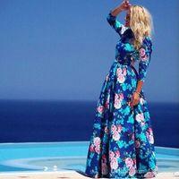 Wholesale 2016 New Women Flower Print Beach Dress Full Sleeve Sexy Casual Cute Blue Bohemian Maxi Summer Dress LM