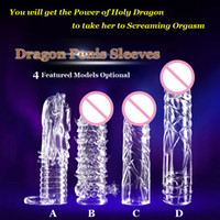 Wholesale 1PC Newest Reusable Penis Sleeve Dragon Cock Ring Sleeves Penis Extender Condoms Sex Toys Sex Products