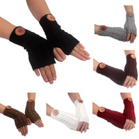 Wholesale Winter Multi Color Buttons Knitting Gloves Fashion Woman New Fingerless Gloves keep warm in stock