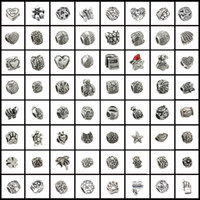 Wholesale 50 Mix style antique silver pated Big Hole Loose alloy Beads fit European charm Bracelet DIY Jewelry