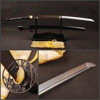 bamboo constructions - Japanese samurai katana carbon steel Honsanmai construction blade sword sharp can cut bamboo ESA801