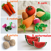 Wholesale 2016 Baby colorful knitted wool fruit toys styles Kids funny toys Children birthday gift amusement Toys photography prop