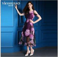 american drain - Ya Shi Jiao summer new European and American women s chiffon print dress drain rotator cuff round neck Slim Dress Size S XXL