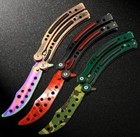 Wholesale New in CS GO Counter Strike claw Karambit Knife game folding Knife butterfly rainbow game knife dull blade no edge tool