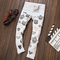 bar jeans - Hot New fashion white men jeans ripped biker pants European and American Bar DJ style jeans male Badge Zipper trouser