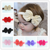 Wholesale Chiffon flower headbands Grosgrain Ribbon hair bows colors kids hair accessories high quality solid color headband