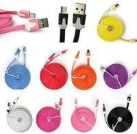 Wholesale 1M M M Micro V8 Noodle Flat Data USB Charging Cords Charger Cable Line for Samsung Android Phone