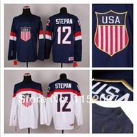 Cheap Team USA 2014 Sochi Winter Olympic #12 Derek Stepan Hockey Jersey American Blue White Wholesale Stitched Good Quality Men's